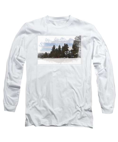Cabin In Snow With Mountains In Background Long Sleeve T-Shirt