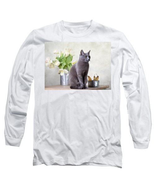 Cat And Tulips Long Sleeve T-Shirt