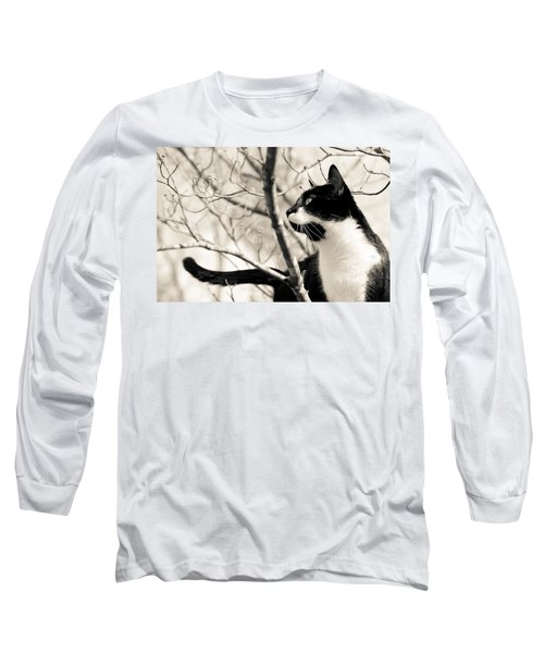 Cat In A Tree In Black And White Long Sleeve T-Shirt