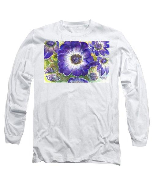 Cineraria Of South Africa  Long Sleeve T-Shirt by Bernadette Krupa