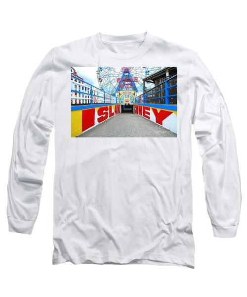 Coney Island Sign Long Sleeve T-Shirt by Mark Gilman