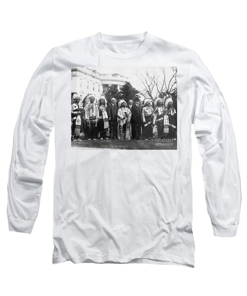 Coolidge With Native Americans Long Sleeve T-Shirt by Photo Researchers