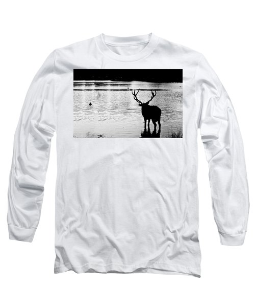 Long Sleeve T-Shirt featuring the photograph Cooling Off Deer by Maj Seda