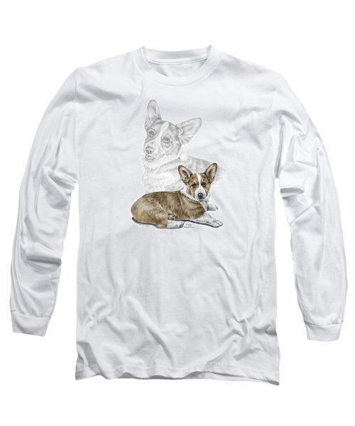 Long Sleeve T-Shirt featuring the drawing Corgi Dog Art Print Color Tinted by Kelli Swan