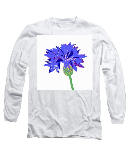 Long Sleeve T-Shirt featuring the digital art Cornflower by Barbara Moignard