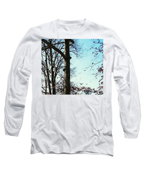 Long Sleeve T-Shirt featuring the photograph Crows In For Landing by Pamela Hyde Wilson