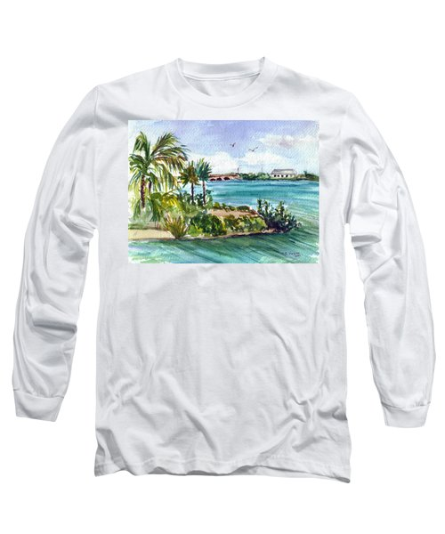 Long Sleeve T-Shirt featuring the painting Cudjoe Key Bridge by Clara Sue Beym