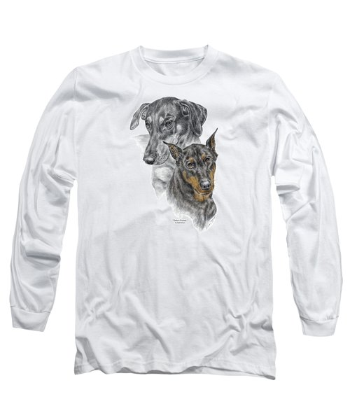 Long Sleeve T-Shirt featuring the drawing Dober-friends - Doberman Pinscher Portrait Color Tinted by Kelli Swan