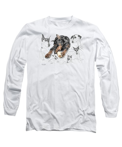 Long Sleeve T-Shirt featuring the drawing Dober-thoughts - Doberman Pinscher Montage Print Color Tinted by Kelli Swan