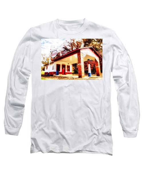 Long Sleeve T-Shirt featuring the painting Esso Filling Station by Lynne Jenkins
