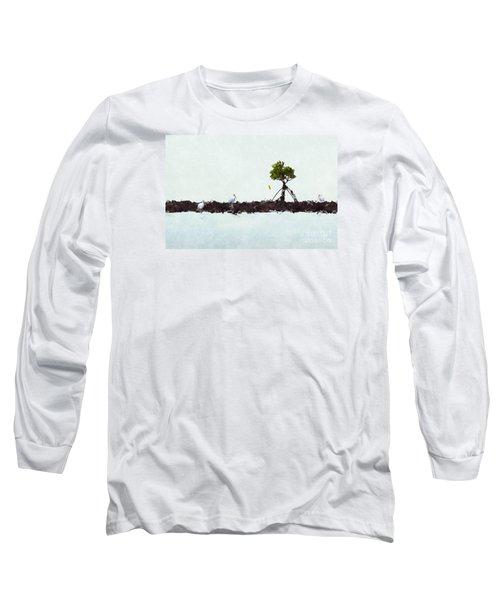 Long Sleeve T-Shirt featuring the photograph Falling Mangrove Leaf by Dan Friend
