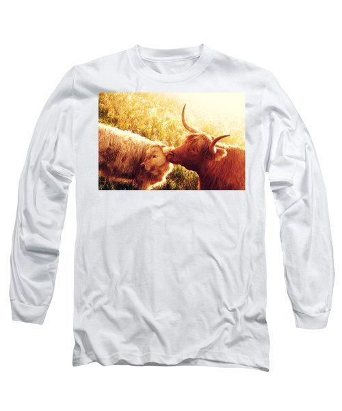 Fenella With Her Daughter. Highland Cows. Scotland Long Sleeve T-Shirt