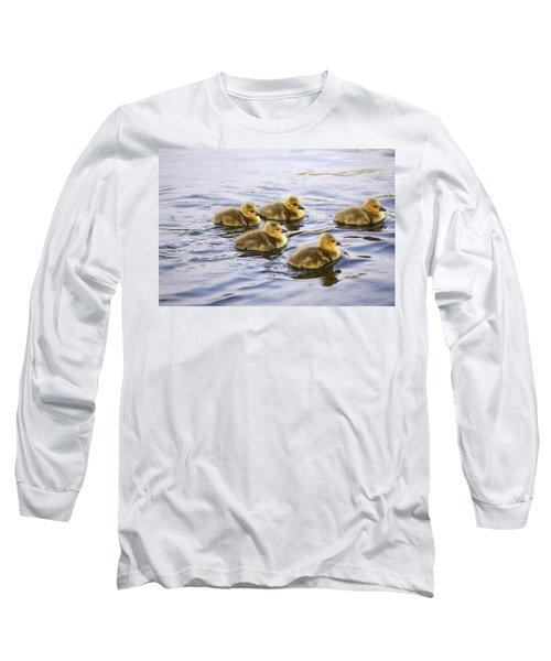 Five Goslings In The Water Long Sleeve T-Shirt