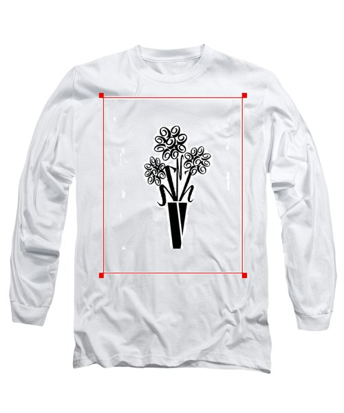 Flowers In Type Long Sleeve T-Shirt by Connie Fox