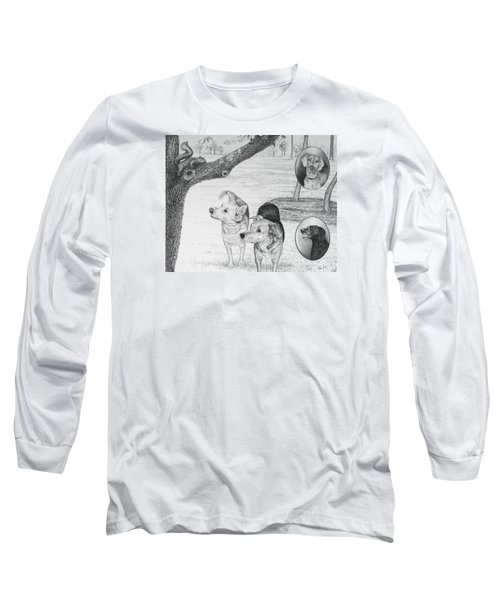 Long Sleeve T-Shirt featuring the drawing Four Dogs And A Squirrel by Mike Ivey