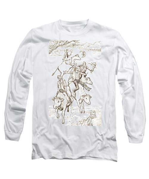 Long Sleeve T-Shirt featuring the digital art Four Mad Cowboys Of The Apocalypse by Russell Kightley