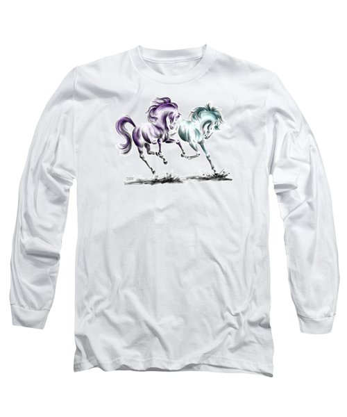 Frolicking - Wild Horses Print Color Tinted Long Sleeve T-Shirt