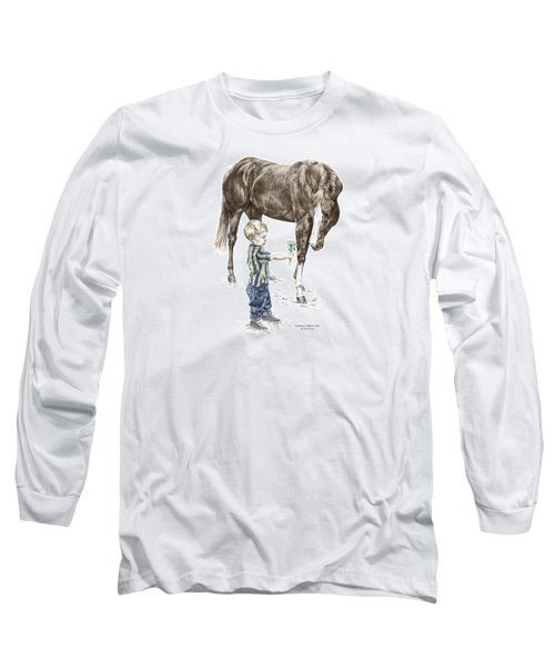 Long Sleeve T-Shirt featuring the drawing Getting To Know You - Boy And Horse Print Color Tinted by Kelli Swan