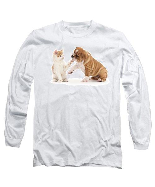 Ginger Kitten With Bulldog Pup Long Sleeve T-Shirt