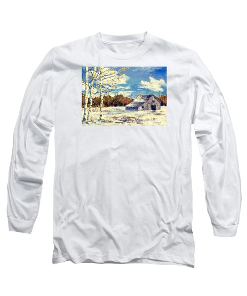 Long Sleeve T-Shirt featuring the painting Grandma's Barn by Lou Ann Bagnall