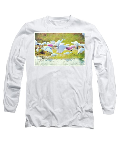 Long Sleeve T-Shirt featuring the photograph Great Egret Flying by Dan Friend