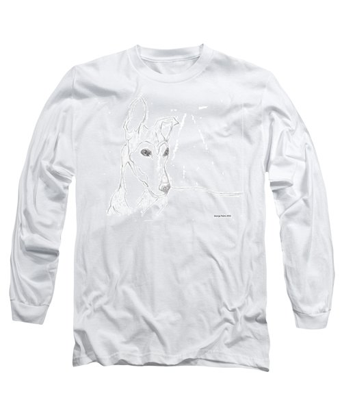 Long Sleeve T-Shirt featuring the drawing Greyhound by George Pedro