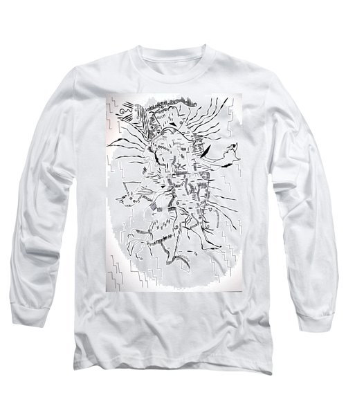 Long Sleeve T-Shirt featuring the drawing Gule Wamkulu - Malawi by Gloria Ssali