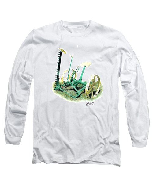 Long Sleeve T-Shirt featuring the painting Hay Cutter by Ferrel Cordle