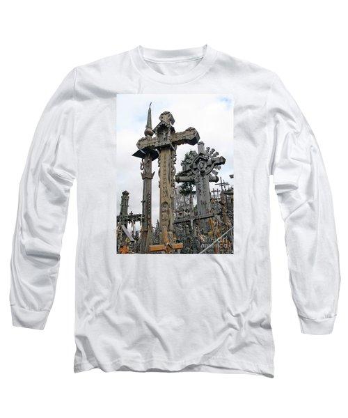 Hill Of Crosses 09. Lithuania Long Sleeve T-Shirt by Ausra Huntington nee Paulauskaite