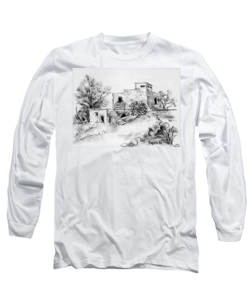 Hirbe Landscape In Afek Black And White Old Building Ruins Trees Bricks And Stairs Long Sleeve T-Shirt by Rachel Hershkovitz