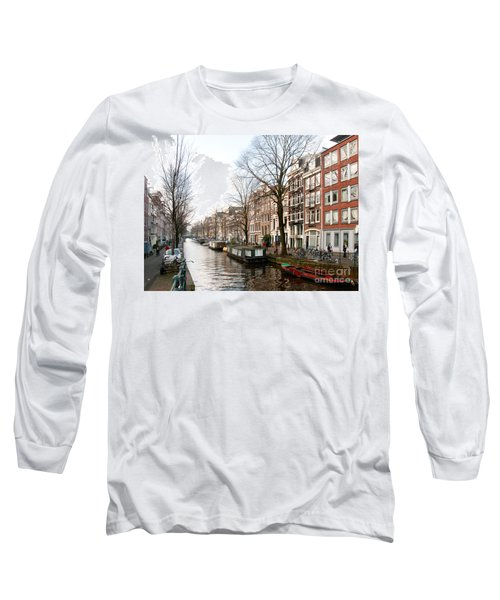 Long Sleeve T-Shirt featuring the digital art Homes Along The Canal In Amsterdam by Carol Ailles