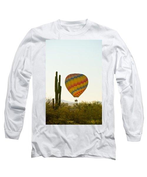 Hot Air Balloon In The Arizona Desert With Giant Saguaro Cactus Long Sleeve T-Shirt