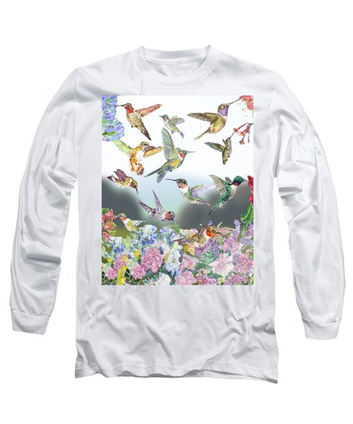 Hummingbirds Galore Long Sleeve T-Shirt by Barry Jones