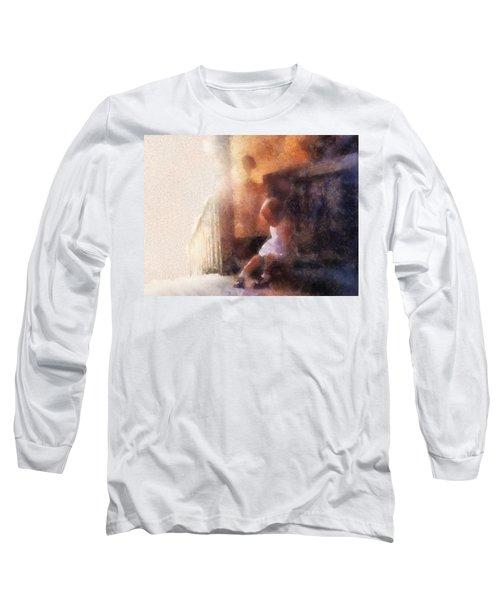 Little Girl Thinking Long Sleeve T-Shirt