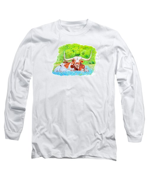 Long Sleeve T-Shirt featuring the drawing Longhorns In Bluebonnets by Mike Ivey
