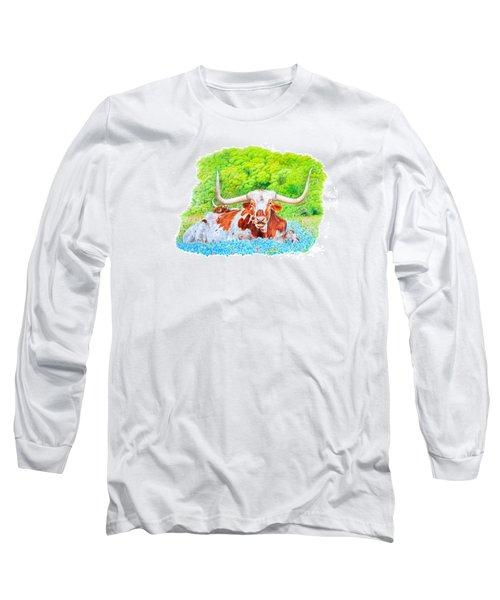 Longhorns In Bluebonnets Long Sleeve T-Shirt