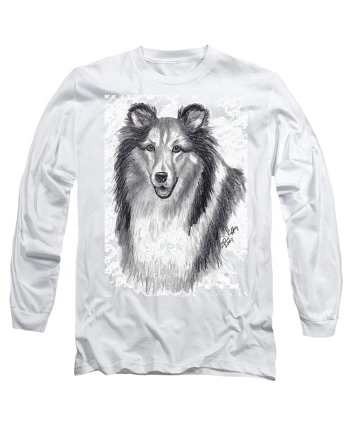 Long Sleeve T-Shirt featuring the drawing Looks Like Lassie by Julie Brugh Riffey