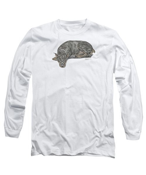 Long Sleeve T-Shirt featuring the drawing Lying Low - Doberman Pinscher Dog Print Color Tinted by Kelli Swan