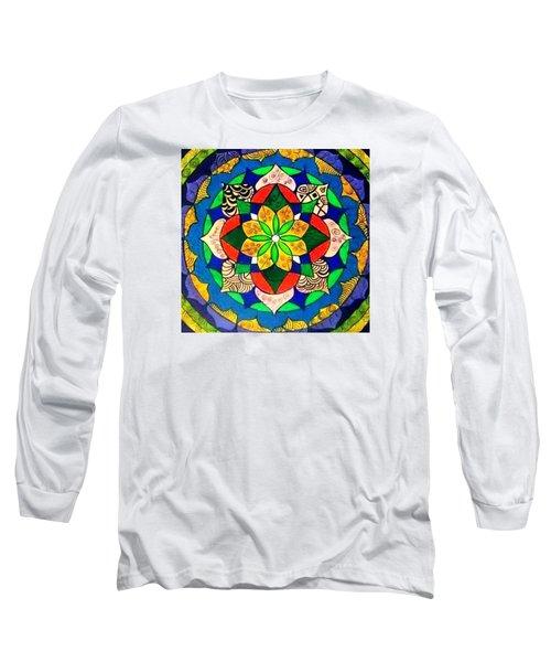 Mandala Circle Of Life Long Sleeve T-Shirt by Sandra Lira