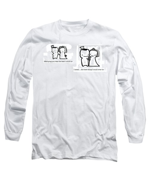 Long Sleeve T-Shirt featuring the drawing Marrying You by Leanne Wilkes