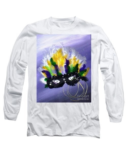 Long Sleeve T-Shirt featuring the painting Masque Over Bourbon Street by Alys Caviness-Gober