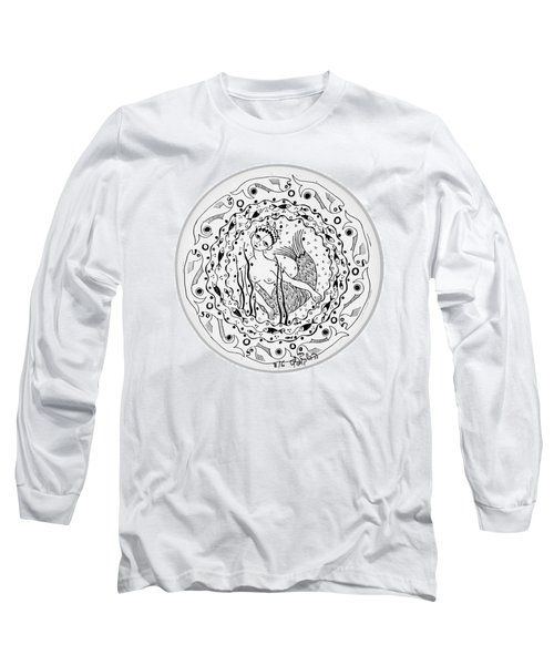 Mermaid In Black And White Round Circle With Water Fish Tail Face Hands  Long Sleeve T-Shirt by Rachel Hershkovitz