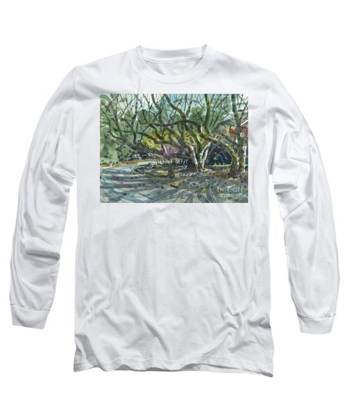 Long Sleeve T-Shirt featuring the painting Monk Trees Two by Donald Maier