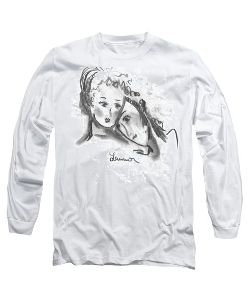 Long Sleeve T-Shirt featuring the drawing Mother Daughter by Laurie L