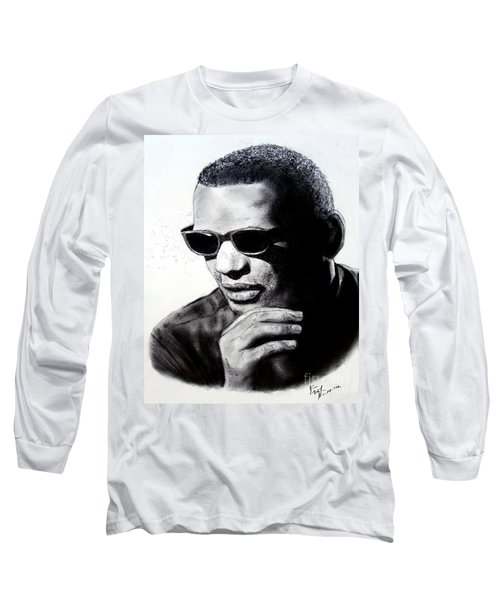 Long Sleeve T-Shirt featuring the painting Music Legend Ray Charles by Jim Fitzpatrick
