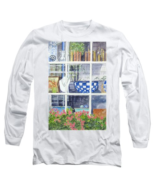 Long Sleeve T-Shirt featuring the painting Nantucket Shop-lecherche Midi by Carol Flagg