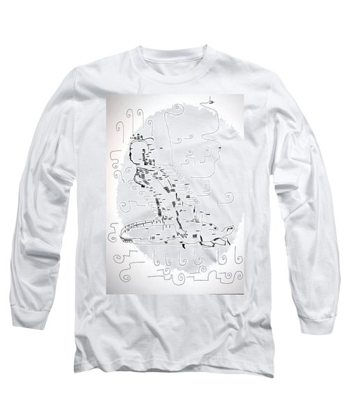 Long Sleeve T-Shirt featuring the drawing Ngwale Dance - Botswana by Gloria Ssali
