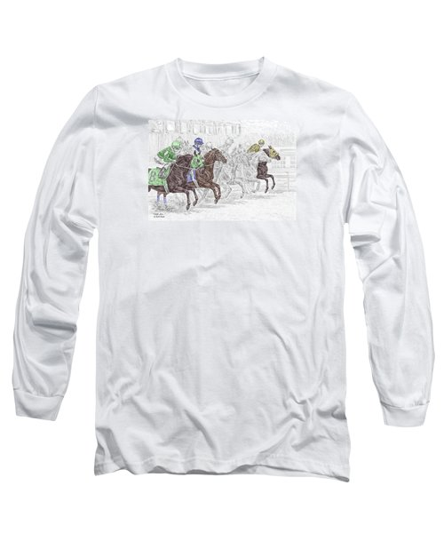 Odds Are - Tb Horse Racing Print Color Tinted Long Sleeve T-Shirt by Kelli Swan