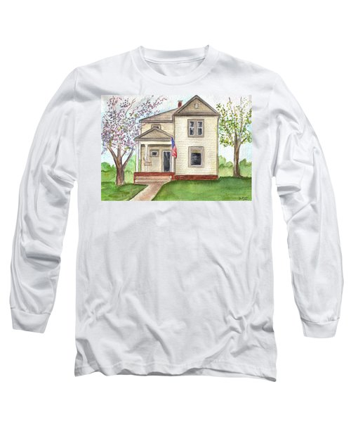 Long Sleeve T-Shirt featuring the painting Ohio Cottage With Flag by Clara Sue Beym
