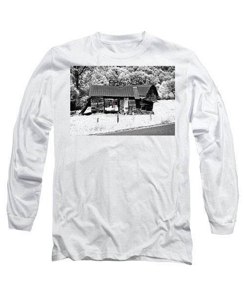Long Sleeve T-Shirt featuring the photograph Old Barns With Red Gate by Susan Leggett